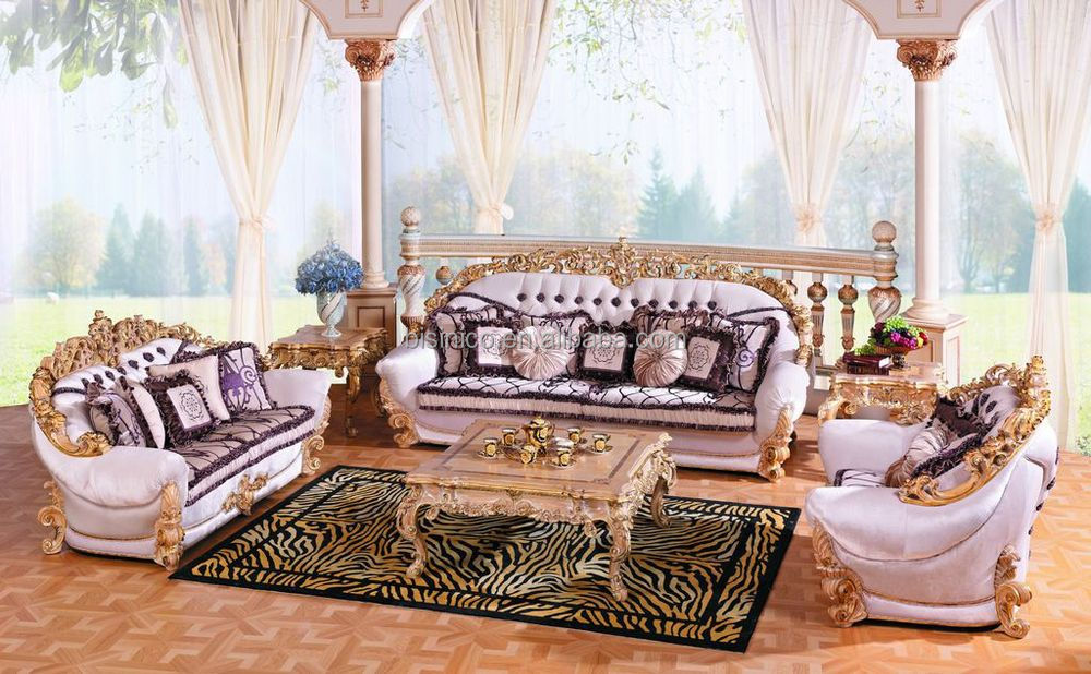 French new baroque luxury living room set gorgeous wooden for Sofa royal classic