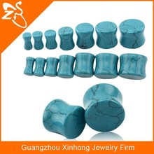 Custom Double Flared Turquoise Ear Plugs - 4-14mm natural stone saddle ear expander stretcher body piercing jewelry