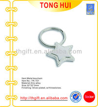 High Quality silver Star shape key chains w/clear jewelry stones
