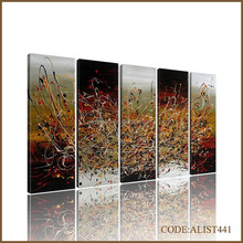 Handpainted hot sale 5 split modern abstract oil painting on canvas for home decoration