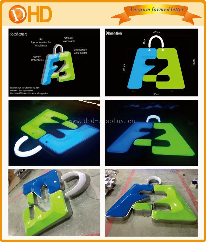 Custom acrylic frontlit led channel letter sign