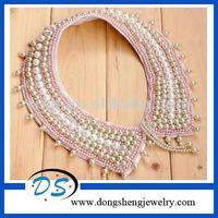 ladies unique design folded blouse beaded neck collar