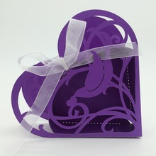 2015 Best selling Purple Bird Heart Shape laser cut wholeale candy box with ribbon chocolate favour box baby shower gift box