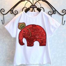 MS64397C 2015 summer fashion elephant sequin kids top quality tshirt