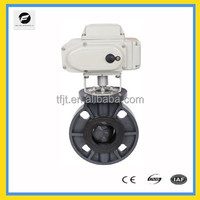 AC220V CTB UPVC,SS304,SS316 Electric flange butterfly valve for raw water piping systems