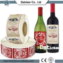 2015 de China fábrica de encargo logotipo de impresión personalizada etiqueta etiqueta de vino tinto