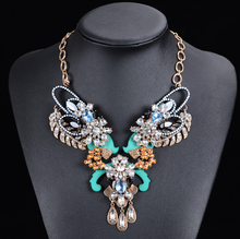 metal alloy butterfly shape crystal acrylic pendant statement necklace