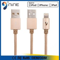 Hot selling certified mfi usb data charger cable for apple products with gold color