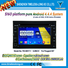 S160 Android 4.4.4 car dvd for peugeot 307 with Capacitive screen Built in Wifi DDRIII 1G FLASH 16G GPS BT Radio