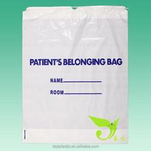 Patient Belongings Bag (Plastic drawstring bag), White color LDPE drawstring bag