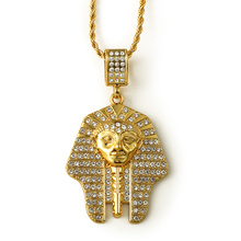 China wholesale Hip hop long chain 18K gold plated bling bling Egyptian pharaoh pendant necklace for fashion wear