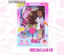 Fashion dress-up black doll with stethoscope, girl doll set toys
