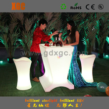 Cheap! beautiful LED glowing plastic modern cocktail table, cocktail chairs