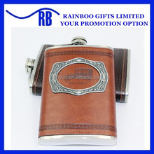 Supply Logo printing factory price 9oz stainless steel leather hip flask with logo printed