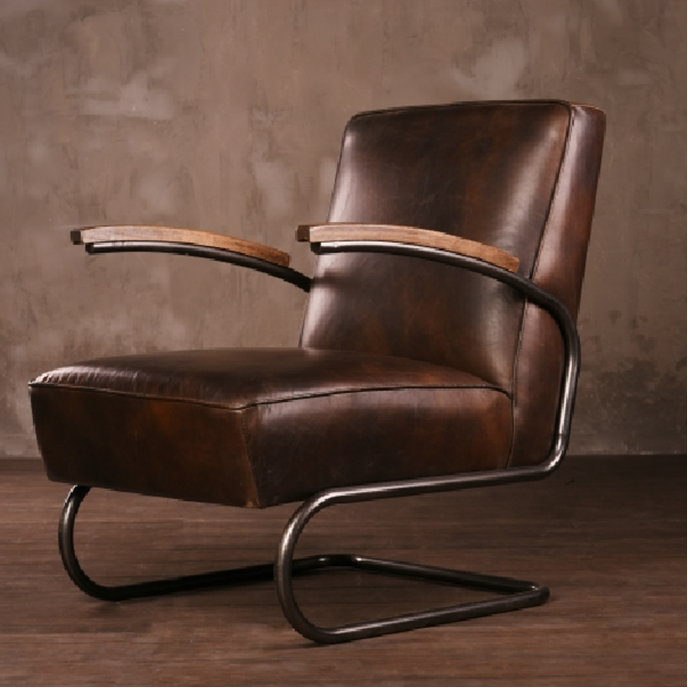 Metal Frame Antique Leather Armchair With Wood Arm - Buy ...