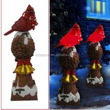 Christmas decoration light polyresin red bird led light