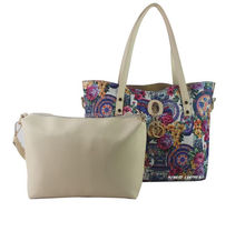 Floor printed fashion lady handbags one set with two piece bag