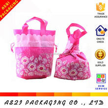 2015 hottest lovely pink drawstring decorated xmas bag with flowers printed