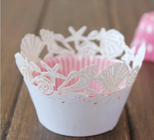 12pcs Laser Cut White Beach Theme Sea Shell Cupcake Wrappers Wraps Wedding Birthday Tea Party Decorations Free Shipping