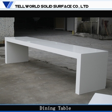 Polished artificial stone top high glossy white Modern 10 person dining table