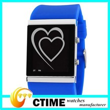 Lovers Heart Gift Watches For Birthday LED Display Jelly Silicone Watches