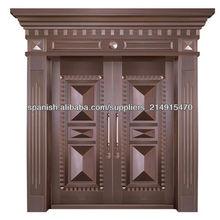 De lujo de oro decoración exquisita artesanía de cobre de seguridad cerradura de la puerta conjunto, puerta de acero