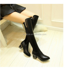 genuine leather real lady shoes chunky heel woman winter snow over the knee boots