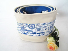 fabric storage basket with handles set of 3, blue and white pattern