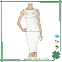 2014 hot sale style sleevelss jacquard weave celebrity bandage dress