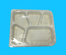 Disposable Plastic Lunch Box with 5 dividers and clear lid