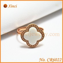 Lucky & Beautiful Four Leaf Clover Ceramic Rings With Stainless Steel