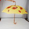 Curva punho de madeira bege guarda-chuva personalizado
