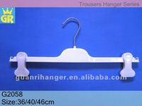SGS approved custom white Plastic pants hanger with clips