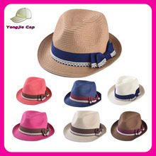 Unisex design your own logo summer cheap promotional fedora hat paper wholesale straw hats