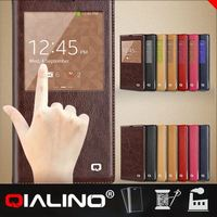 QIALINO 2015 genuine real leather cover with smart view window case for galaxy note 3