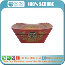 Red Painted Chinese Antique Wood Jewelry Box with Shoe-Shaped Gold Ingot WHOLESALE