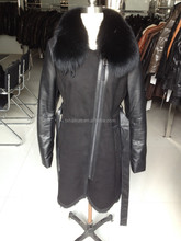 man' genuine leather fur jacket with fox fur collar