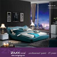 2015 top sale king bedroom furniture blue bed design 1001