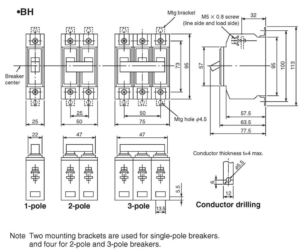 bh miniature circuit breaker mitsubishi type 5a 10a 15a