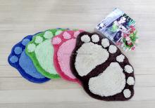 Popular anti -slip cotton foot shape bath mat, thick bath carpet, Eco-friendly bath rugs