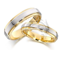 14k Yellow White Yellow Gold His and Her Wedding Rings for Couple for Best Gift 5 mm, 6 mm