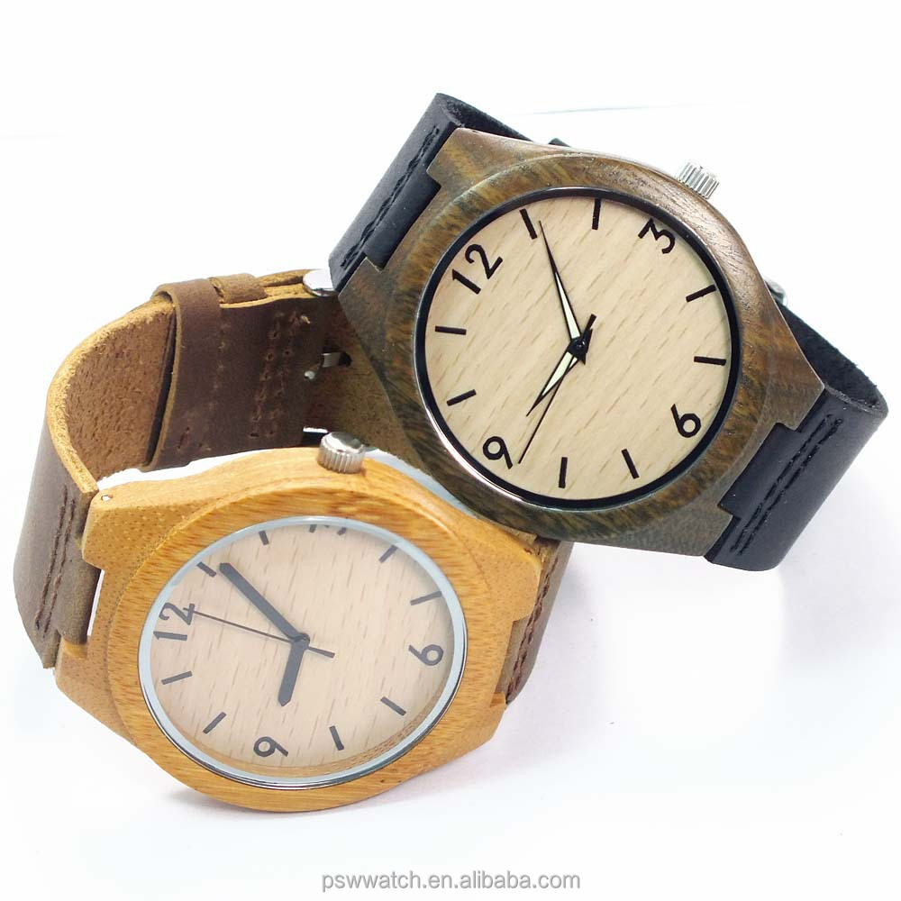 2015 fashion sandal bamboo wood watches leather miyota 2035 movement luxury wooden watch