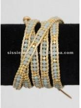 Amazonite and Gold BeadsWrap Around Leather Bracelet