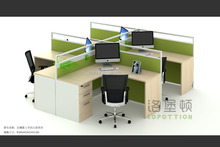 4 persons thin call center cubicles used office wall partitions workstations