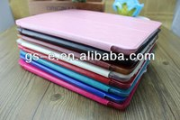 Four section foldable stand case for ipad air ipad mini slim leather smart case with crystal back cover