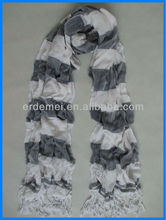 Viscose grey and white stripe fashion scarf