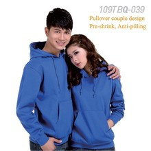 100% cotton thick fabric winter season long sleeve pullover couple hoodies for couple