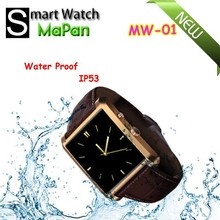 waterproof stainless steel shell golden smart watch with pedometer/sleep monitor/sedentary remind clock