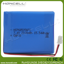685056-2S 7.4V LIPO battery 7.4v rechargeable battery packs 2100mah