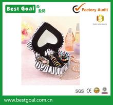 Zebra Animal Print Heart Shape wood Jewelry Box